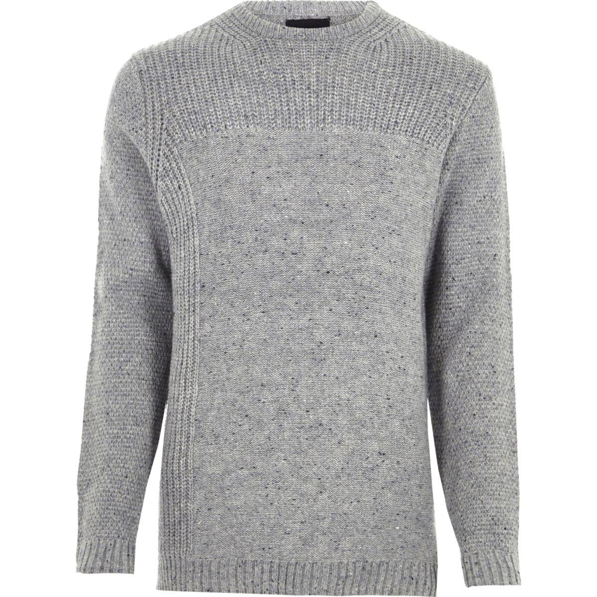 Grey mixed texture knit crew neck sweater