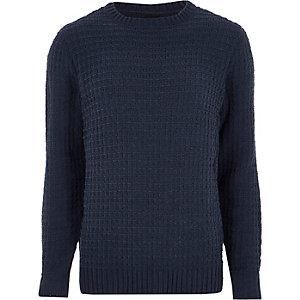 Pull chenille en maille texturée bleu marine
