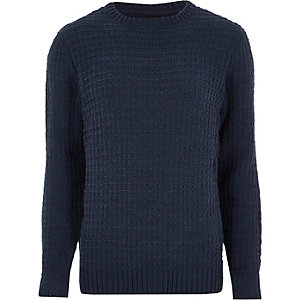 Marineblauwe gebreide chenille pullover met textuur