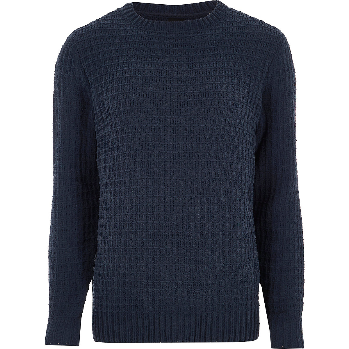 Navy textured chenille knit sweater