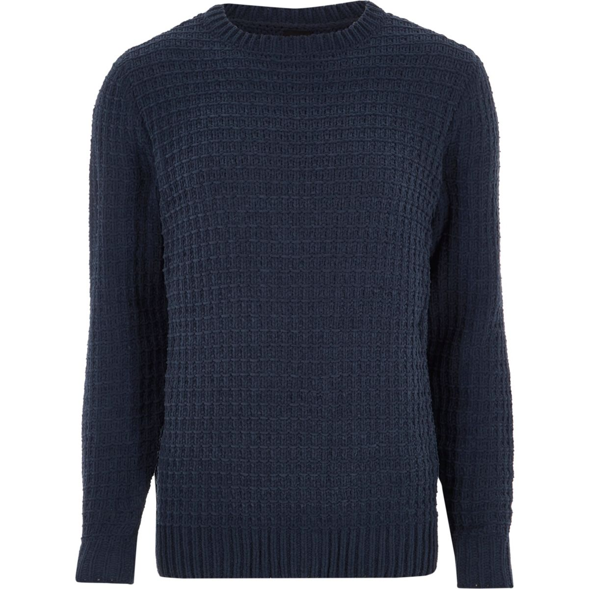 Navy textured chenille knit jumper