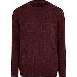 Bordeauxrode pullover met textuur