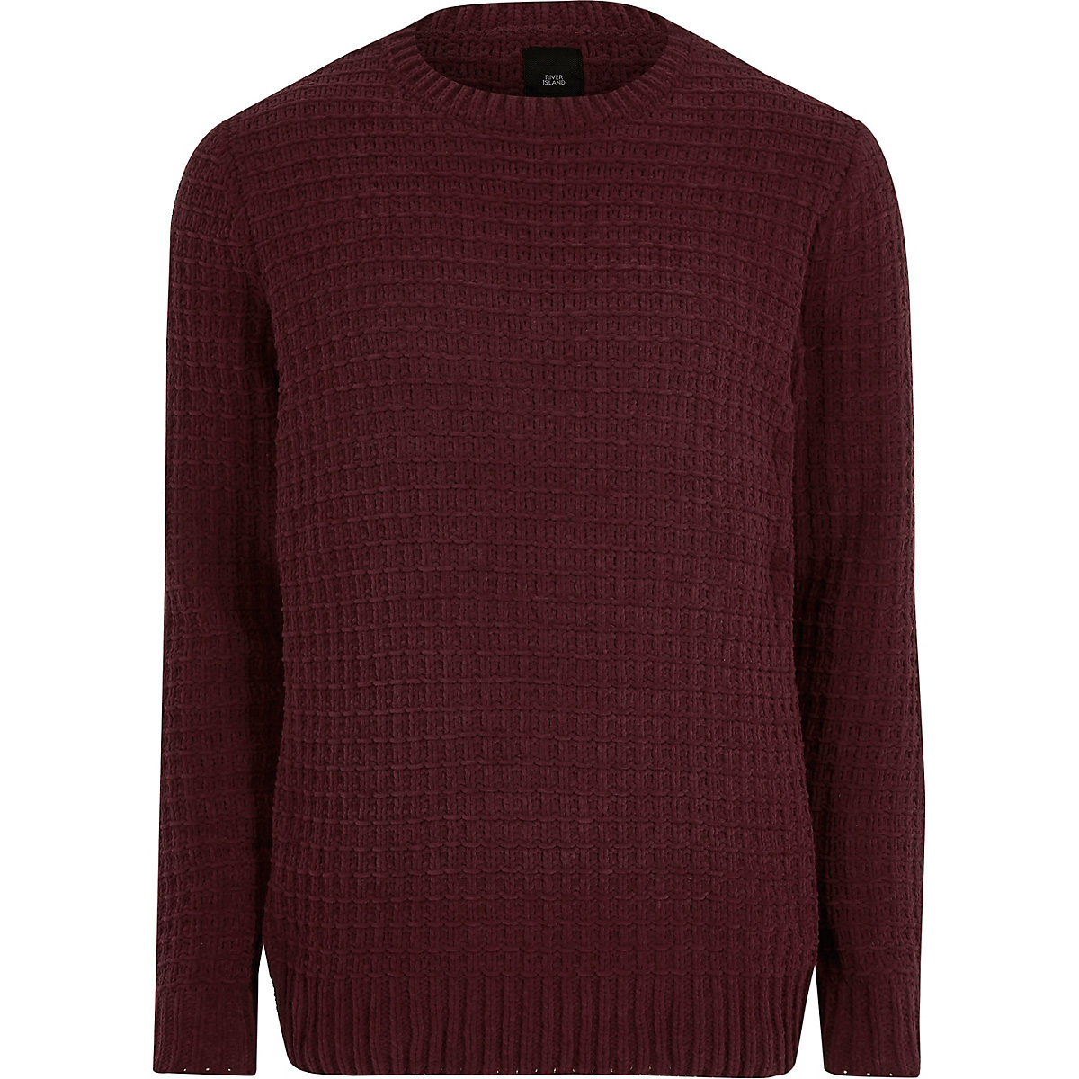 Burgundy textured chenille knit sweater