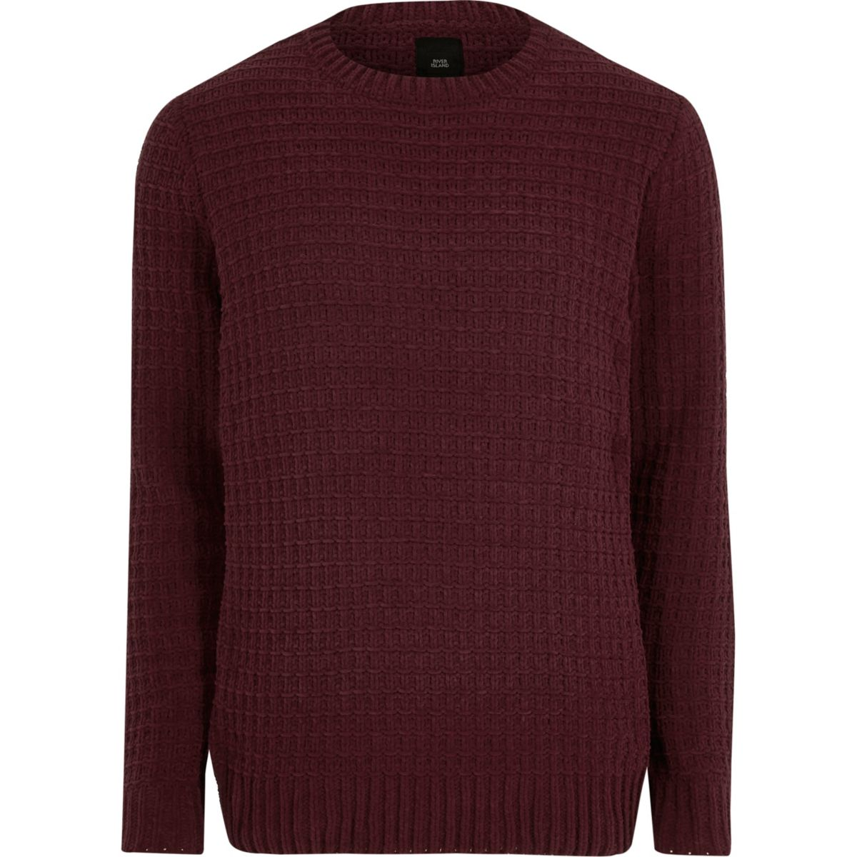 Burgundy textured chenille knit jumper