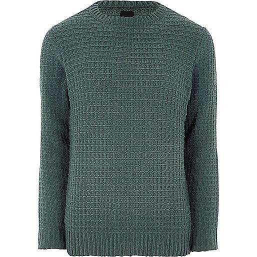 Dark green textured jumper