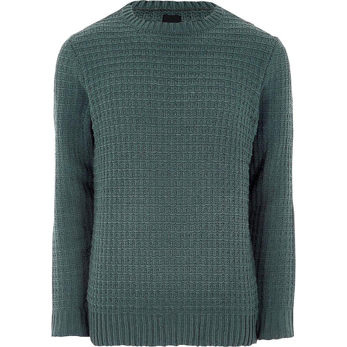 Dark green textured chenille knit sweater