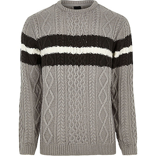 Grey cable knit block stripe knit sweater