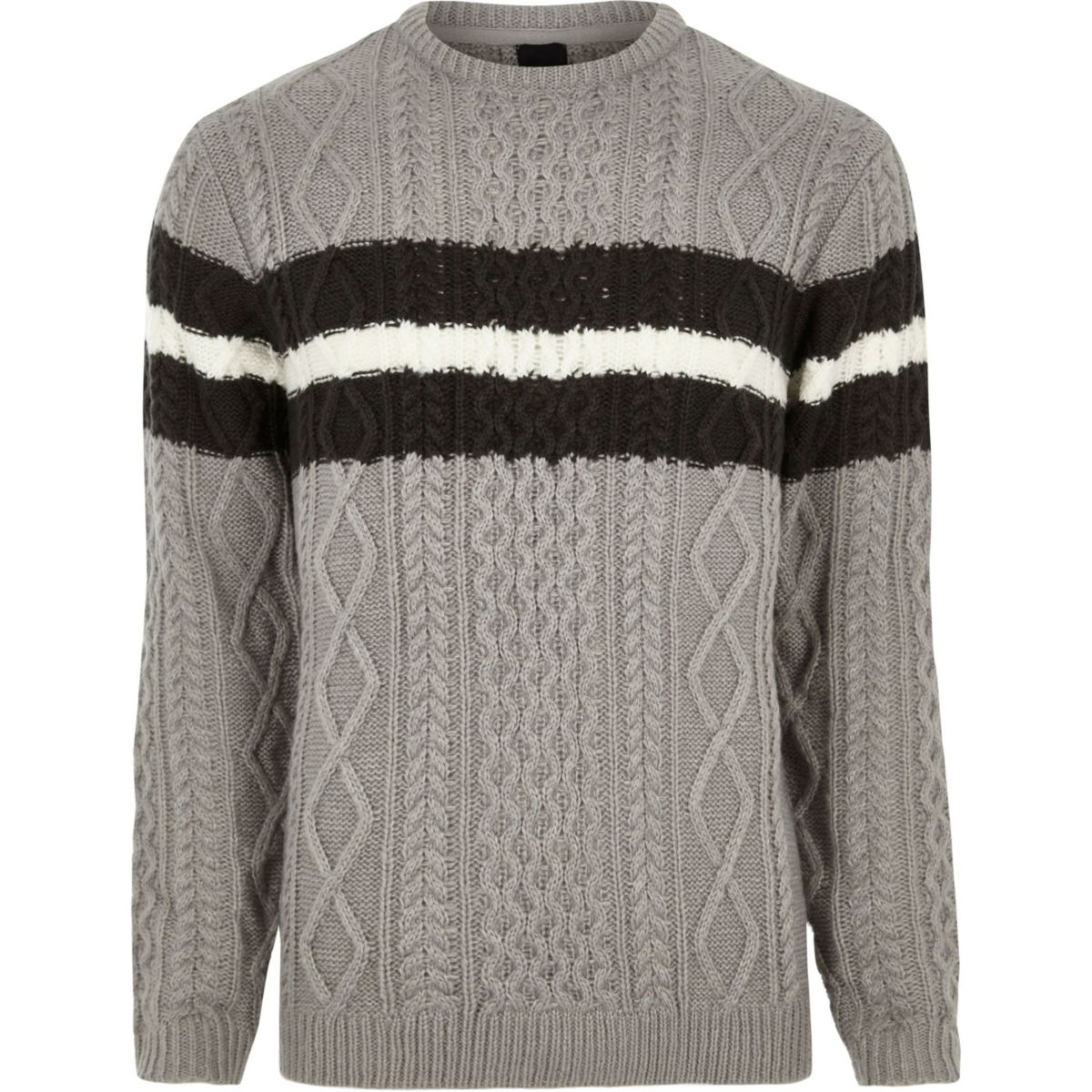 Grey cable knit block stripe knit jumper