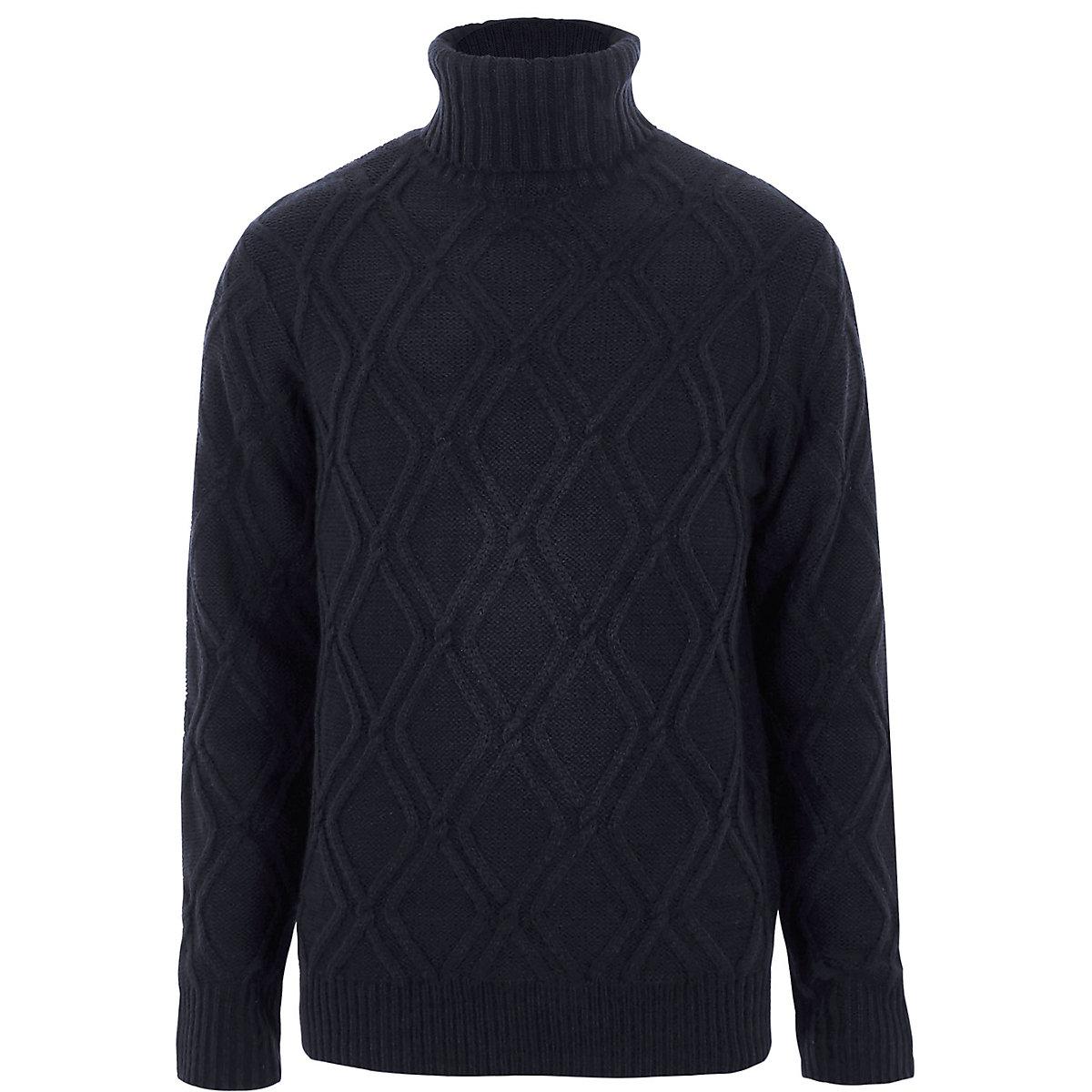 Navy diamond knit roll neck sweater