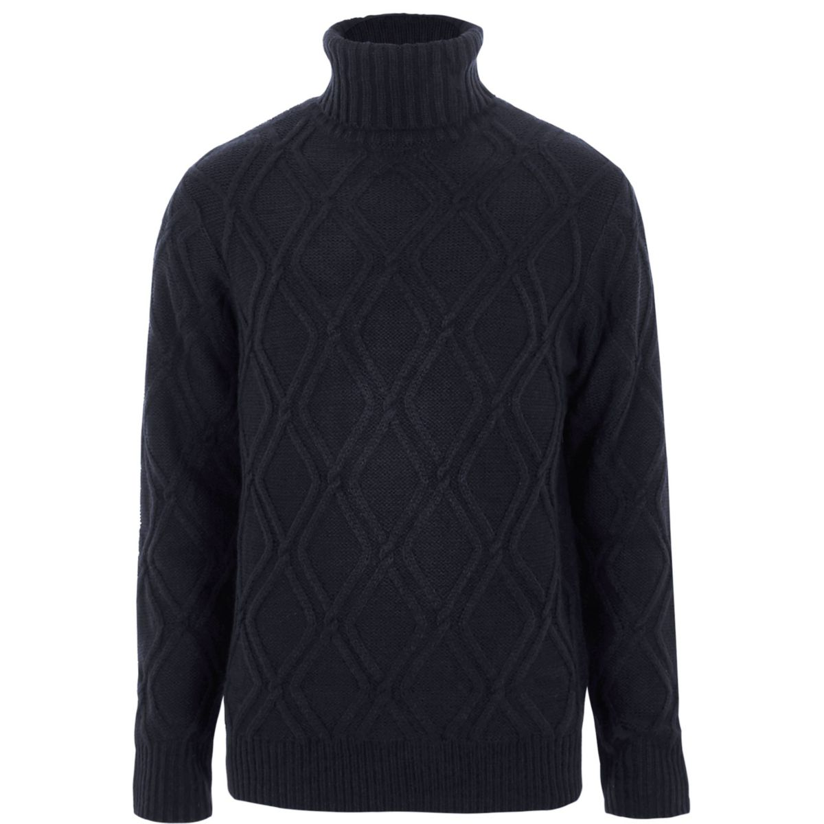 Navy diamond knit roll neck sweater