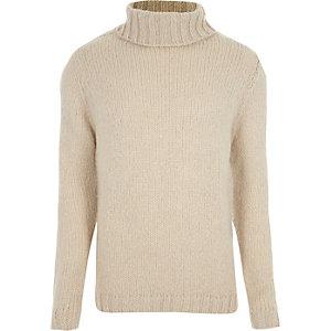 Kiezelkleurige pullover met lange mouwen en col