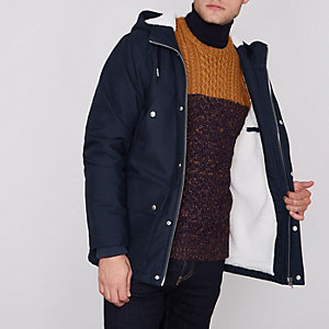 Navy borg lined hooded jacket