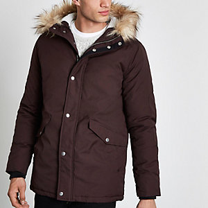 Burgundy faux fur trimmed hooded parka