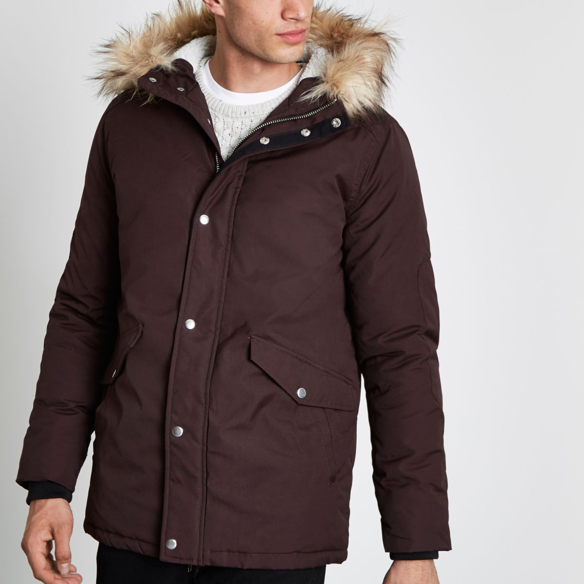 Burgundy faux fur trimmed hooded parka - Coats & Jackets - Sale - men