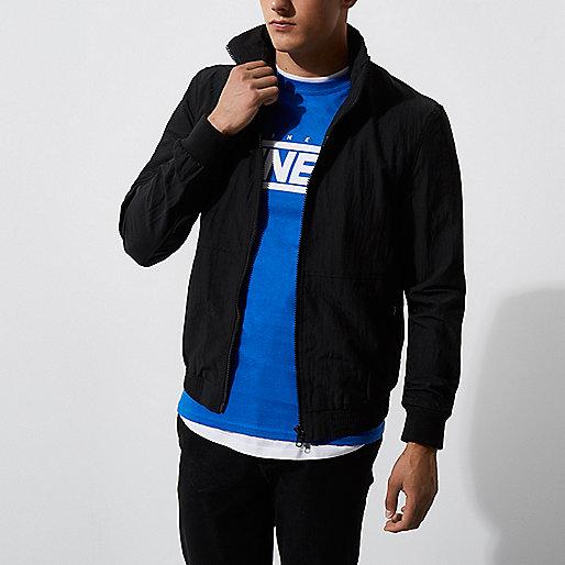 Black funnel neck jacket