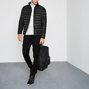 Black funnel neck puffer jacket