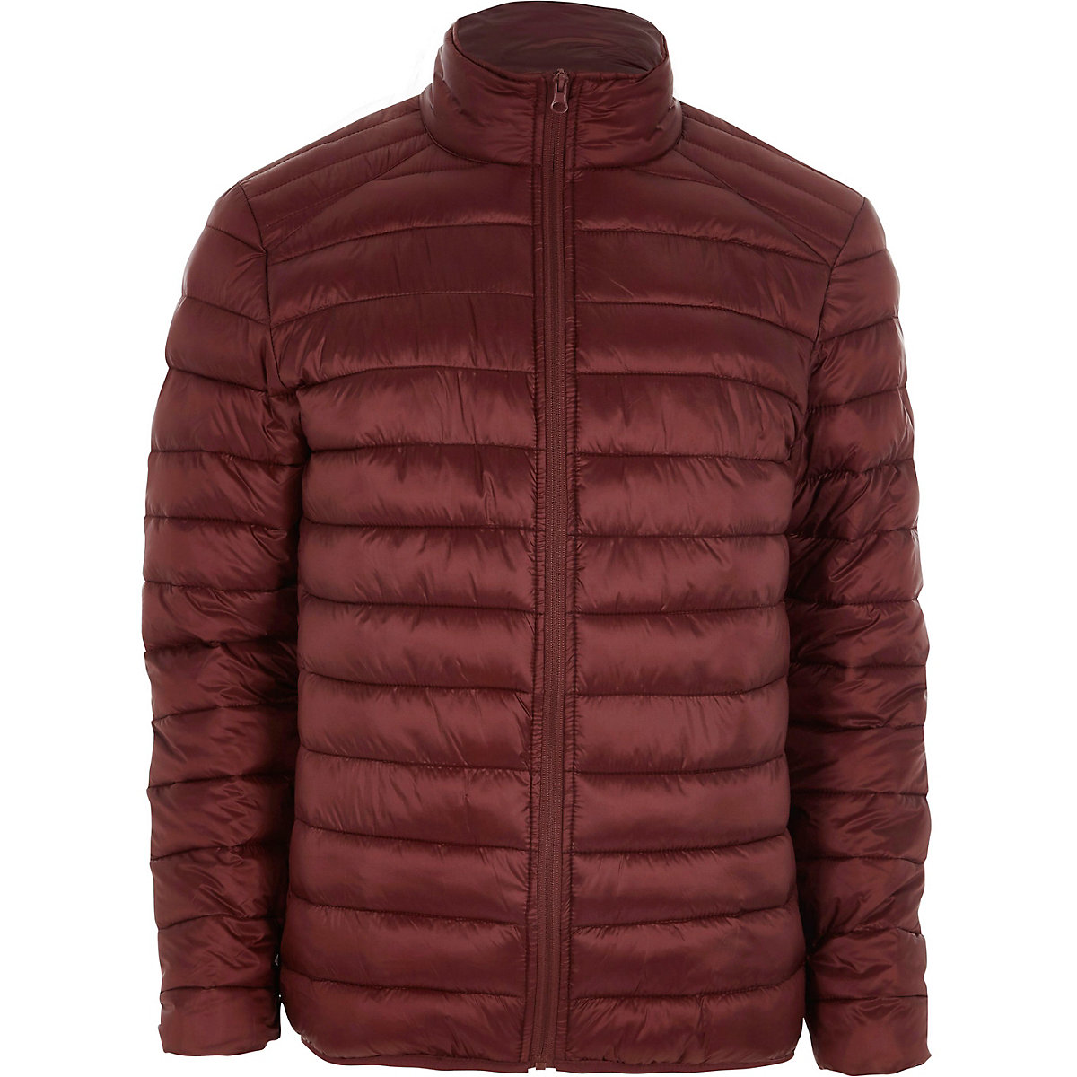 Red funnel neck puffer jacket