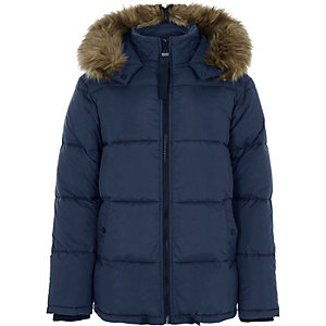 Blue faux fur hood nylon puffer coat
