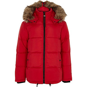Red faux fur trim hooded puffer coat