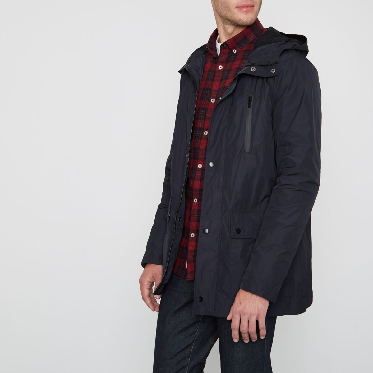 Navy lightweight hooded jacket