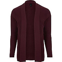 Dark red cable knit open front cardigan