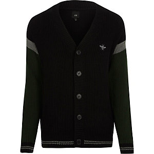 Black block stripe sleeve knit cardigan