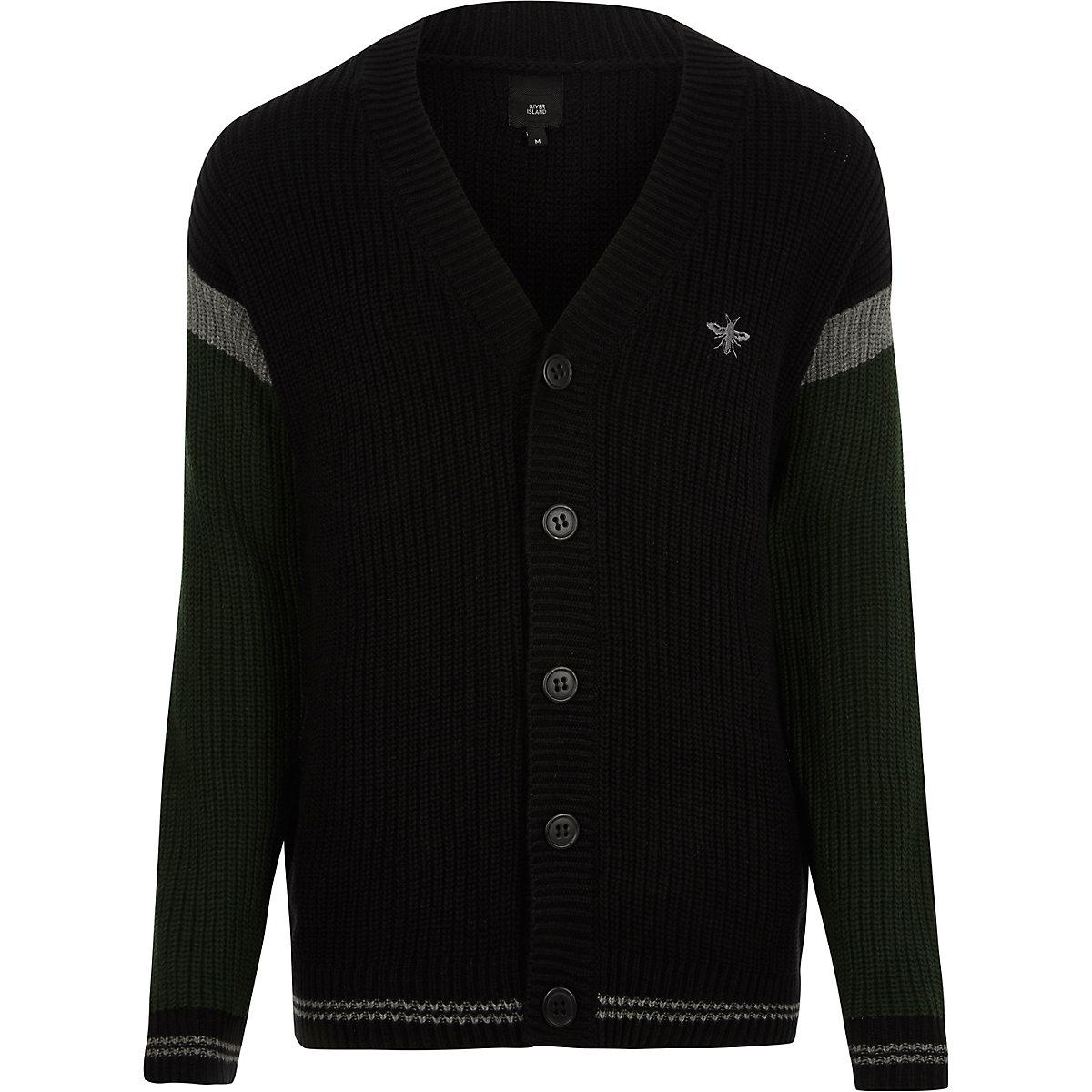 Black block stripe sleeve knit cardigan