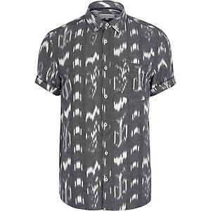 Grey ikat slim fit short sleeve shirt