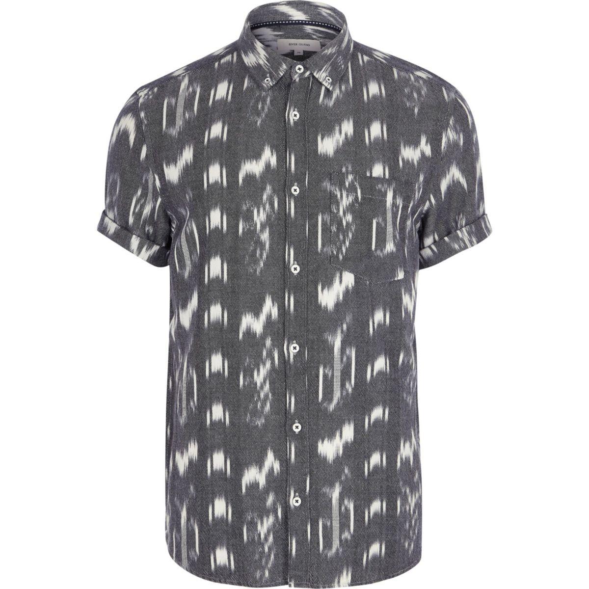 Grey ikat slim fit short sleeve shirt