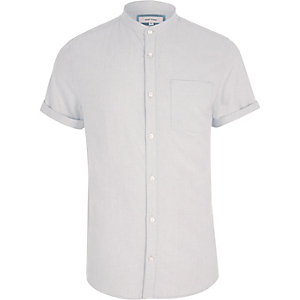 Grey short sleeve grandad shirt