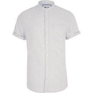 Chemise Oxford blanche à manches courtes sans col