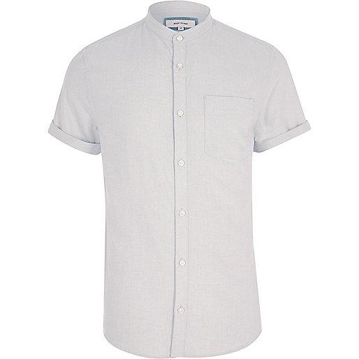 Grey short sleeve Oxford grandad shirt