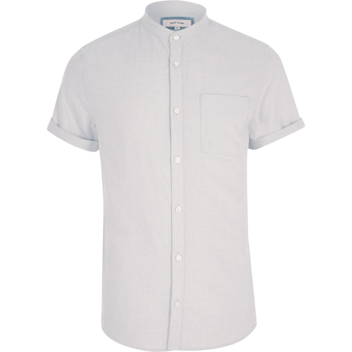 Grey short sleeve Oxford grandad shirt