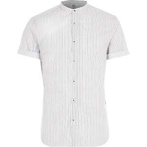 Cream stripe slim fit grandad shirt