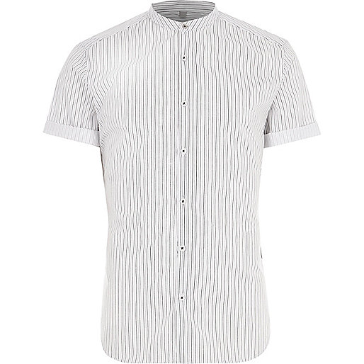 Cream stripe slim fit grandad shirt