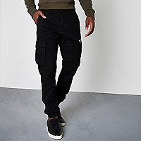 Black cargo jogger trousers