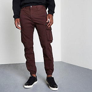 Burgundy cargo jogger trousers