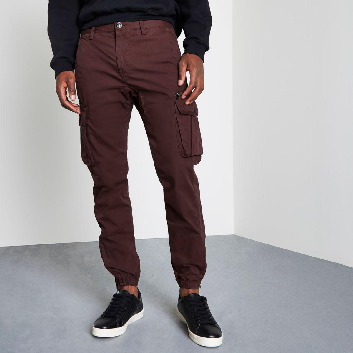 Burgundy cargo jogger pants