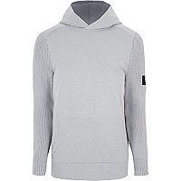 Light grey ribbed knit sleeve slim fit hoodie