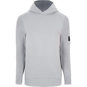 Lichtgrijs geribbelde slim-fit hoodie met gebreide mouwen