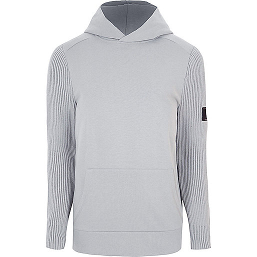 Light grey ribbed knit sleeve slim fit hoodie