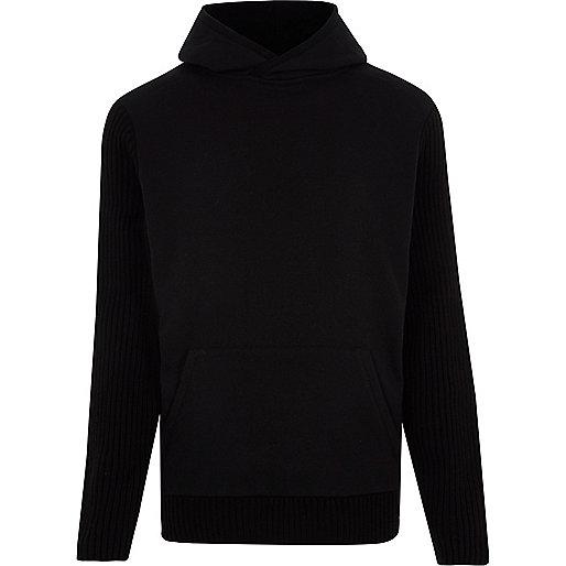 Black long sleeve slim fit ribbed hoodie