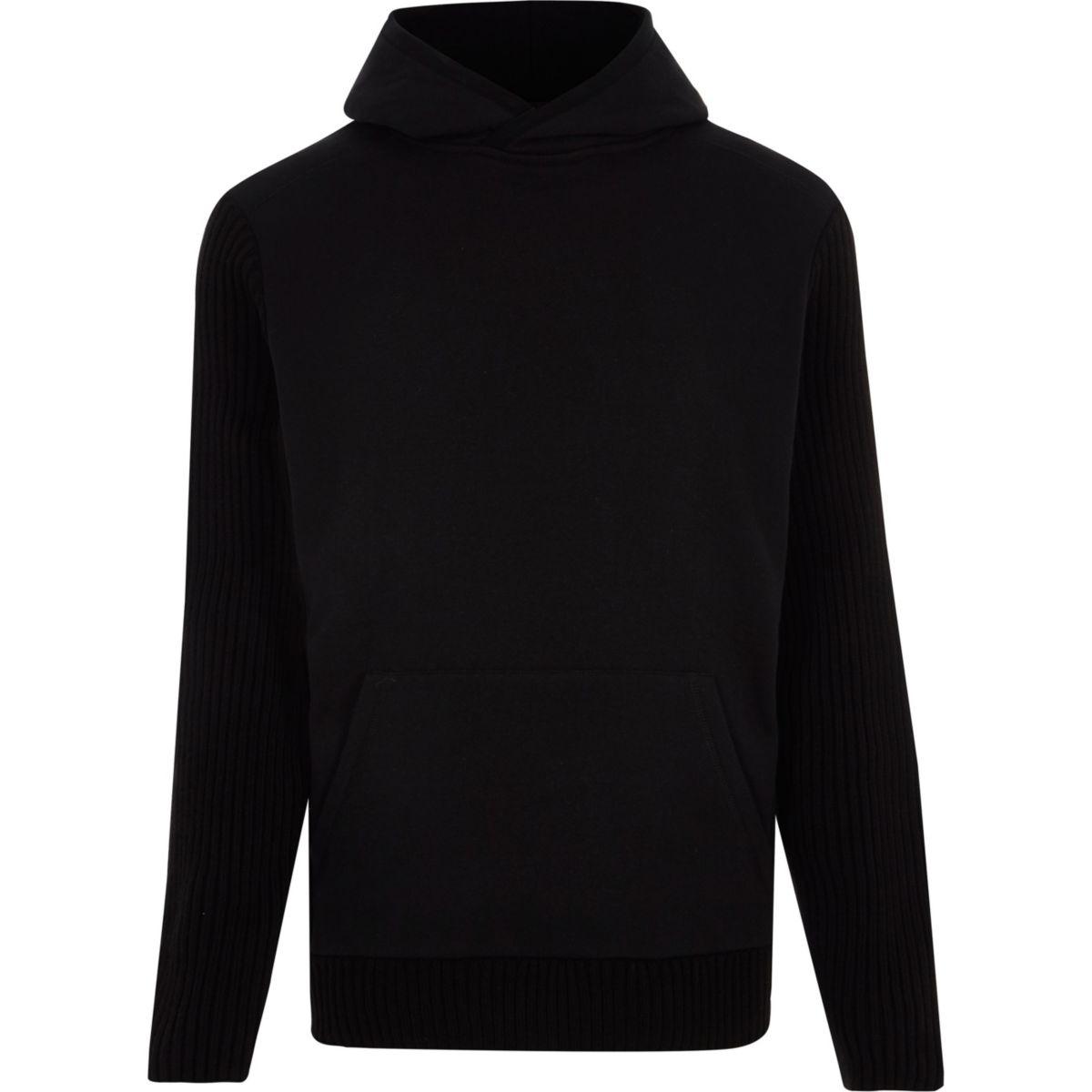 Zwarte slim-fit geribbelde hoodie met lange mouwen