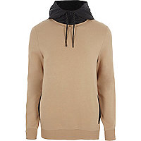 Light brown contrast drawstring hoodie