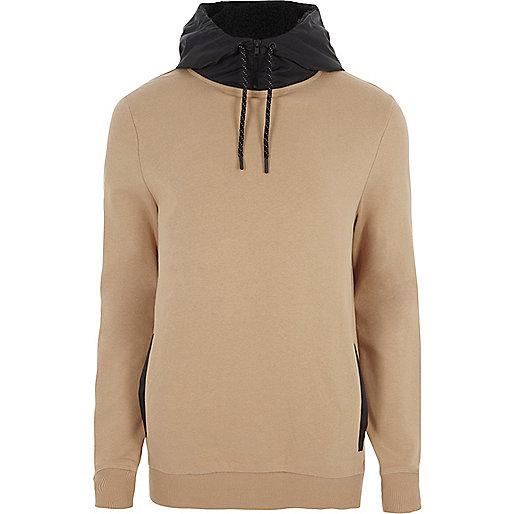 Light brown contrast drawstring hoodie