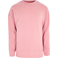Pink crew neck oversized sweatshirt