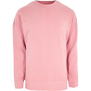 Roze sweatshirt met ronde hals