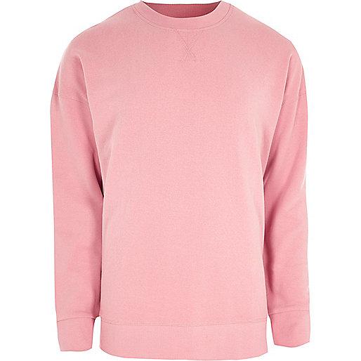 Pink crew neck slouch sweatshirt