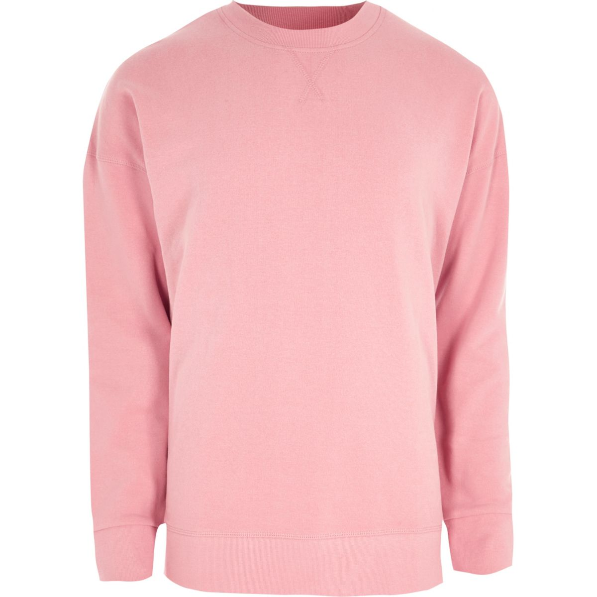 Pink crew neck oversized sweatshirt