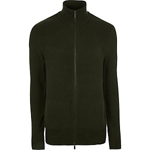 Dark green ribbed funnel neck zip-up sweater